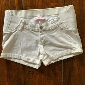 Isabel Maternity Shorts, White, Like New